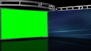 Studio with green screen on wall — Wideo stockowe