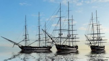 Group of Sailing Ships — Stock Video