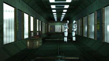 Robots talking in corridor — Stock Video