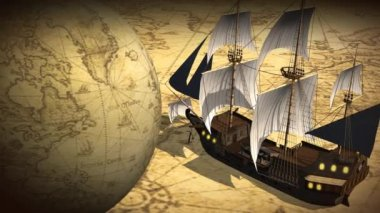 Rotating globe and map with ship — Stock Video
