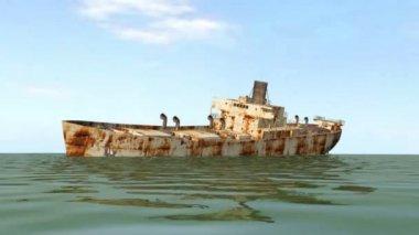 Shipwreck in open sea — Stock Video