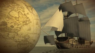 Rotating globe with ship in sea — Wideo stockowe