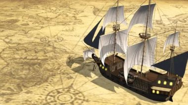 Map of the world with old sailing ship — Stock Video