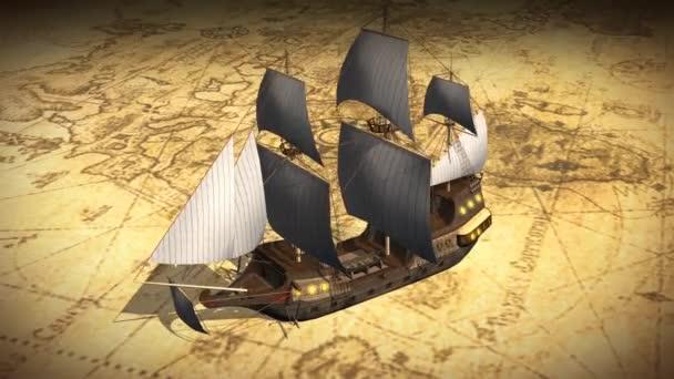 Mapa del mundo con el viejo velero — Vídeo de stock