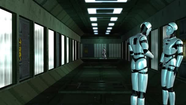 Robots talking in corridor — Vídeo de stock