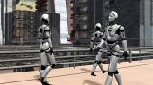 Human Robots in futuristic City — ストック写真