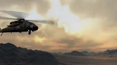 Military helicopter flying in sky — Stock Video