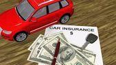 Samochodów i 100 Dolar rachunki na papierze — Zdjęcie stockowe