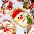 Christmas Santa Claus face salad — Stock Photo #53710883