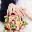 Bridal bouquet of roses, buttercups and other flowers — Stock Photo #56479073