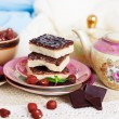 Three pieces of shortcake cake with nuts and chocolate — Stock Photo #57710429