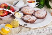 Three mini charlotte cake with apple and almonds — Stock Photo