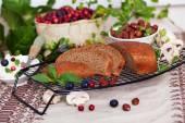 Traditional black bread in still life — Stock Photo