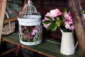 Basket with artificial flowers, beautiful Provence — Stock Photo