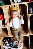 Business prince cute baby smiling cheerful happy with crown success heir, — Stock Photo