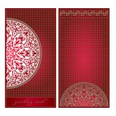 Greeting card in European style, floral ornament, template — Stockvector