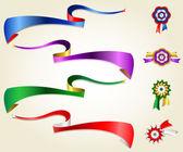 Silk ribbon set, blue, red, green, purple — Stock Vector