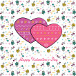 Valentine with two hearts — Stock Vector #60643839