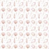 Seashells seamless pattern — Stock Vector