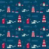 Seamless pattern, lighthouses — Stock Vector