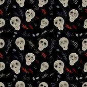 Seamless pattern skulls on a black — Stock Vector