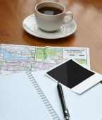 Photo , notebook pen and cup of coffee — Photo