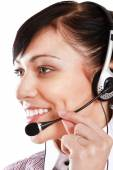 Beautiful business woman with headset. — Stock Photo