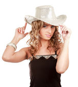 Attractive blond wearing a hat , isolated on white — Stock Photo