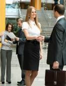 Businesspeople, or businesswoman and client handshaking — Stock Photo