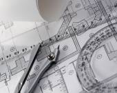Architecture blueprint and tools — Stock Photo