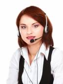 Beautiful business woman with headset. Call center — Stock Photo