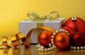 Christmas gift box with christmas balls. — Stock Photo