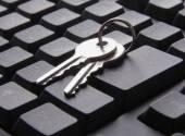 Computer keyboard and key. — Stock Photo