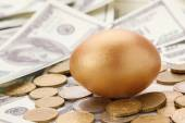 A gold egg lying on dollars and coins — Stock Photo