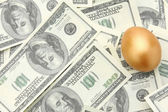 A golden egg on american dollars — Stock Photo