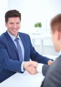 Business people shaking hands, finishing up a meeting — Stock Photo