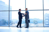 Full length image of two successful business men shaking hands with each other — Stock Photo