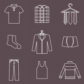 Man clothes icons — Stock Vector