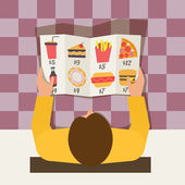 Lunch time. Man ordering meal in fast food cafe. Menu and vector icons in flat design. — Stock Vector