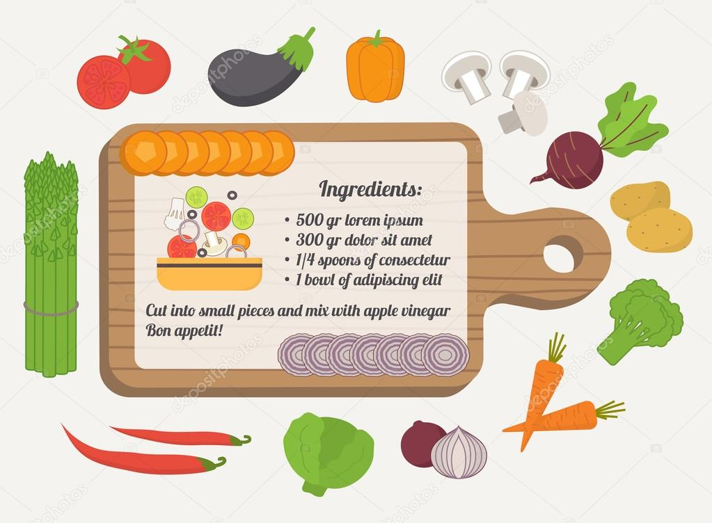 Tarjeta de receta plantilla culinaria con iconos de for Plantillas de cocina