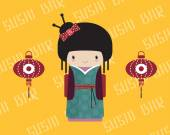 Kokeshi doll in kimono with traditional asian lantern, vector illustration. — Stock Vector