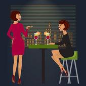 Friends celebrating in bar or night club. Vector illustration. — Stock Vector