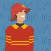 Fireman, occupation. Vector illustration — Stock Vector