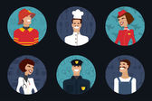 People profession, occupation. Firefighter, cooker, stewardess, doctor, policeman, worker. Vector illustration — Stock vektor