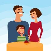 Happy family, mother father and son eating icecream. Vector illustration. — Stock Vector