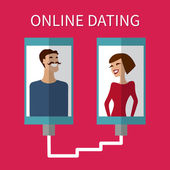 Internet dating, online flirt and relation. Mobile service — Vector de stock