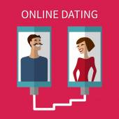 Internet dating, online flirt and relation. Mobile service — Stok Vektör