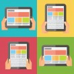Hands holding digital tablet, responsive design. Flat vector icons set. — Stock Vector #57454835