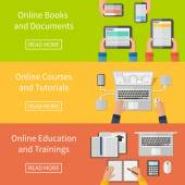 Online education,online training courses and tutorials, e-books. Digital devices, laptop. Flat design banners. — Vecteur