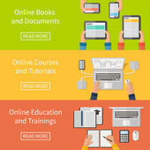 Online education,online training courses and tutorials, e-books. Digital devices, laptop. Flat design banners. — Stockvektor